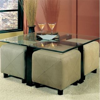 Coaster Furniture 700026 Cermak Contemporary Square Metal Cocktail Table in Black with Glass Top