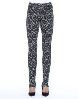 Nicole Miller Lace Skinny Pants, Oyster