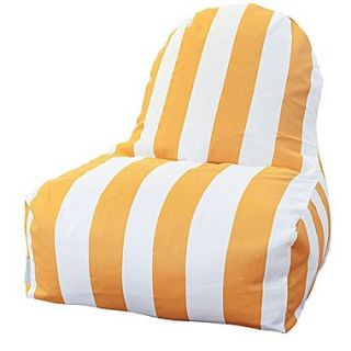 Majestic Home Goods Indoor/Outdoor Vertical Stripe Polyester Kick It Bean Bag Chair, Yellow